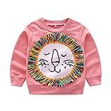 Boy Girl Baby Smile Star Printed Cotton Long Sleeve Sweatshirt Top (18M, Pink)