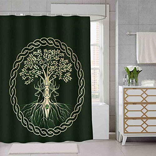 SDDSER Life Tree Shower Curtain Round Celtic Tree of Life Decor Bathroom Curtain for Kids, Waterproof Fabric 72X72 with 12 Hooks YLLSSD228