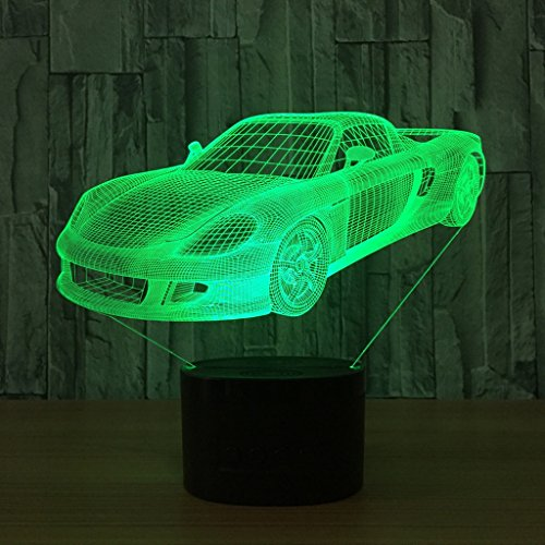 Zcxbhd Voiture de sport 3D Illusion optique de lumière de nuit LED 7 changement de couleur avec plat acrylique, base en plastique d'ABS, lumières de décoration de chambre de bureau de Tableau de charg
