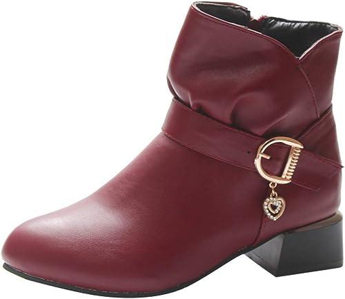 ZHRUI zapatos botas de mujer zapatos Casuales botas de Invierno Botines de Tobillo botas Cortas zapatos de tacón con Hebilla de Cuero con Cremallera Cuadrada botas Martin zapatos de Tobillo