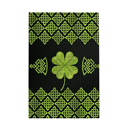 Tidyki Jigsaw Puzzle 1000 Piece Irish Four Leaf Lucky Clover Vintage Celtic Knot Jigsaw Puzzles for Adult and Kids Entertainment Stress Relief Game Wooden Puzzles Toys 20x30