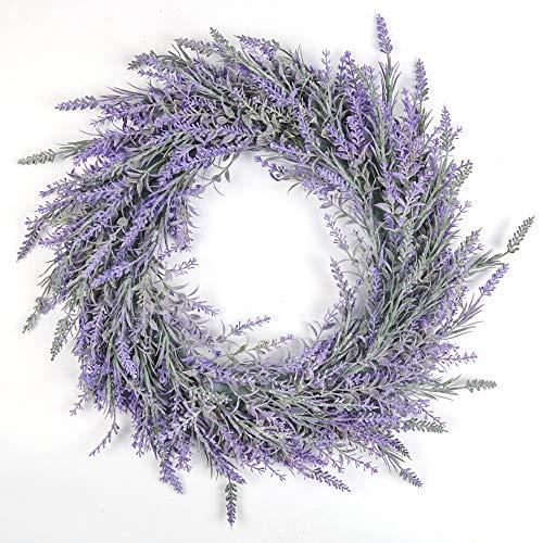 SHACOS Lavendel Kranz Tür Frühling Kranz Künstlich Grün Wandkranz Blumen Dekokranz Klein Hängend Für Hochzeit Fenster Dekor 45 cm