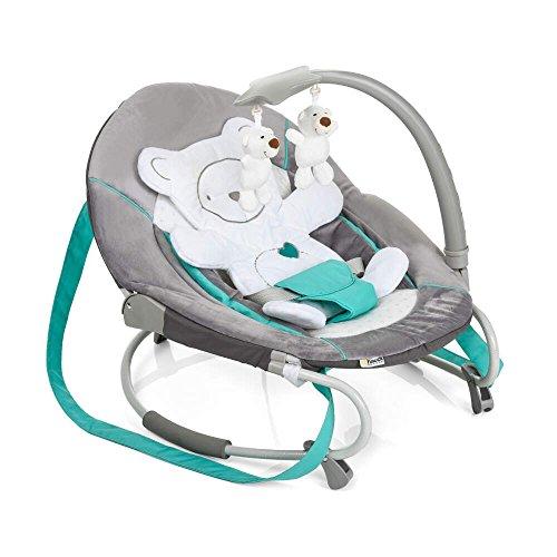 Hauck / Babywippe Leisure / Schaukelfunktion / abnehmbaren Spielbogen und Teddybär als Sitzverkleinerer / ab Geburt bis 9 kg verwendbar / kippsicher und tragbar / Hearts (Grau)