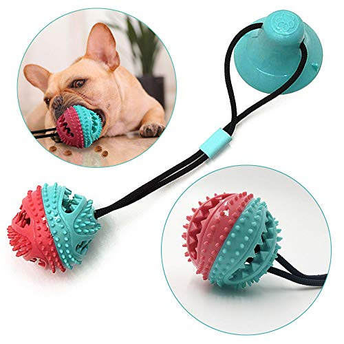 Onebarleycorn – Hundespielzeug mit Saugnapf,Kauseilballspielzeug für Hunde Multifunktions Pet Molar Biss Spielzeug Pet Molar Chew Spielzeug Reinigung Zähne Kugel