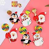 HOWAF 150pcs Navidad Pirulí Tarjetas de Papel Decoraciones, Papá Noel Monigote de Nieve Pingüino Papel Tarjetas para Pirulí Azucar Caramelo Regalo Paquete Envase Navidad Decoraciones Accesorios