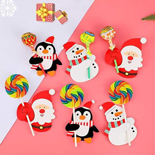 HOWAF 150pcs Weihnachten Lutscher Papier Karte Dekorationen Weihnachtsmann Schneemann Pinguin Weihnachten Lutscher Zuckerhut Candy Geschenk Verpackung deko Gastgeschenke zubehör