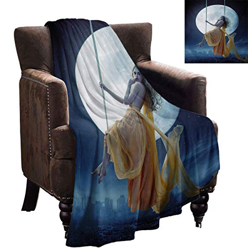 LanQiao Moon Outdoor Blanket Yellow Haired Woman on a Swing in The Sky The Moon and The Buildings Print Meaningful New Year Gift 60'x50' Dark Blue and Grey