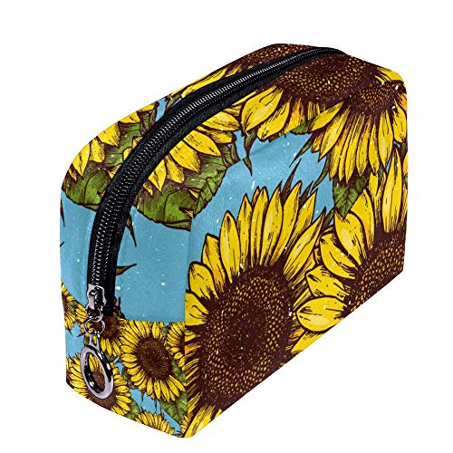 ANINILY Sunflower Retro Background Cosmetic Bag Trousse de maquillage pour femme, Petite trousse de maquillage Sac de voyage pour produits de toilette Étanche Multifonction Portable