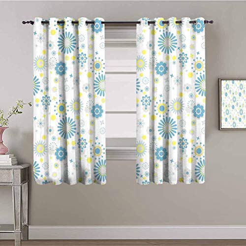 Yellow and Blue All Season Insulation Curtain Soft Spring Pattern with Various Abstract Blossoms Little Stars Soundproof Shade Light Grey Blue Yellow W84 x L84 Inch