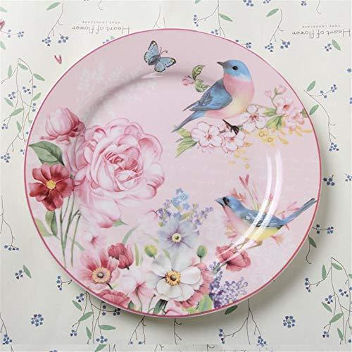 yurunn Conjunto Pastoral Platos Occidentales Plato de Carne Plato Plano de 8 Pulgadas Plato de Restaurante Plato vajilla Flores y pájaros Plato Plano de 8 Pulgadas