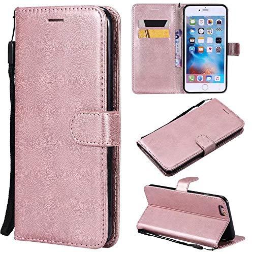 Haiqing Funda de piel sintética de alta calidad con función atril y correa de muñeca compatible con iPhone 6 Plus/6S Plus (5.5 pulgadas) (color oro rosa)