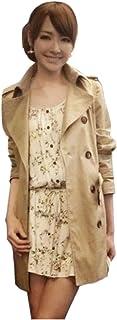 CAファッションレディースダブルブレストラペルトレンチコートアウタージャケット