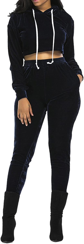 Linsery Women's 2 Piece Pleuche Long Sleeve Hooded Crop Top Pants Set Tracksuit