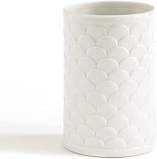 Kassatex Scala Embossed Porcelain Bath Accessory Set Lotion Dispenser, Tumbler, Toothbrush Holder, Soap Dish, Cotton Jar, ...