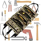 Rolling Tool Bags for Men – Big Capacity Portable Tools Roll Up Organizer Fathers Day Gifts Canvas Pocket Thicken Wearable Store Wrench Screwdriver Bolts Hammers Nails (small, camouflage)