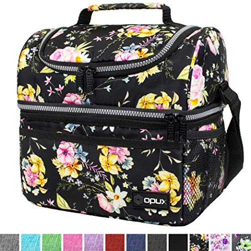 Insulated Dual Compartment Lunch Bag for Women, Ladies | Double Deck Reusable Lunch Box Cooler with Shoulder Strap, Leakproof Liner | Medium Lunch Pail for School, Work, Office (Floral Black)