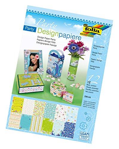 folia 11149 - Designpapier Block Party, DIN A4, 165 g/qm, 12 Blatt sortiert in 12 verschiedenen Motiven, hochwertig illustriertes Papier mit Glitterapplikation