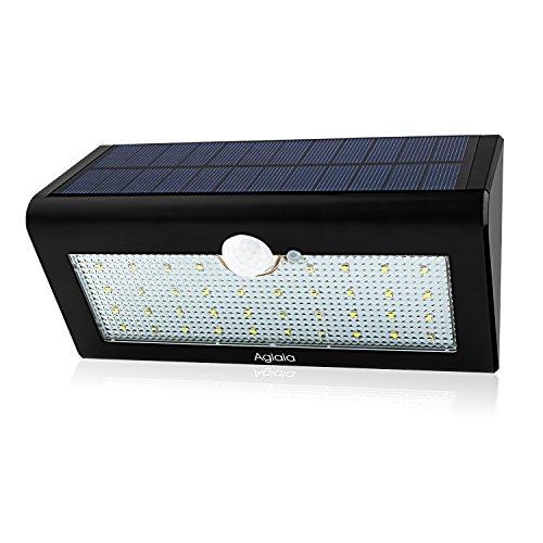 Aglaia 384W Solar Luces LED, Sensor PIR de movimiento lámpara de pared con 3modos de Intelligient, impermeable inalámbrico luz de seguridad solar, recargable lámpara de exterior para jardín, patio, Patio, valla