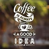 Adhesivo de vinilo para pared con texto en inglés 'Coffee Good ide', para decoración de puertas y ventanas, letras, letras, carteles de vidrio, placas de copas, traslados de pub, ventanas