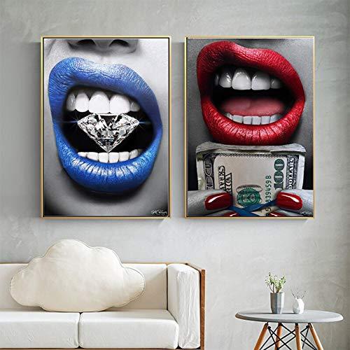 sanzangtang Rahmenlose Malerei Mädchen Schlafzimmer, Wohnzimmer blauen Mund Wandkunst Poster Wand mit Diamanten und Geld verziertZGQ4524 50X70cmx2