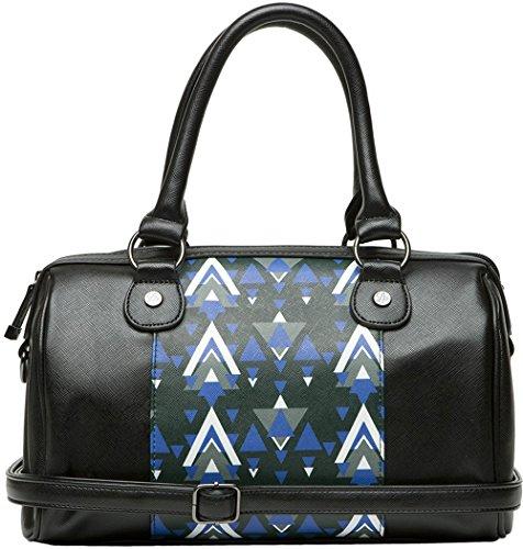 Bolsa de bolillos estampados triangle, color negro