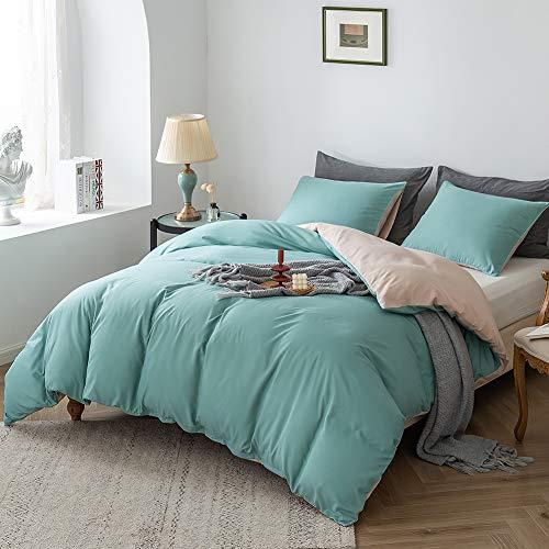 Damier Ropa de cama reversible de microfibra, 220 x 240 cm, color turquesa, verde, verde claro, beige, juego de cama doble con 2 fundas de almohada de 80 x 80 cm