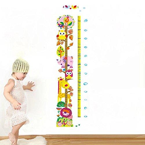 GenialES Medidor de Crecimiento Infantil Vinilo Pegatina Decorativa Adhesivo de Pared Dormitorio Sala Armario Dibujo Girafa León Girafa Elefante Búho 50*70cm
