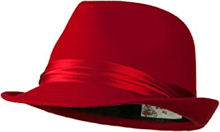 Fedora with Pleated Satin Band - Red W18S44D