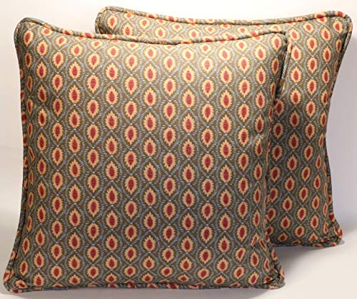 "A set of 2 18"" Annie Selke Sema Taupe Leaf Pattern Decorative Throw Pillow Covers"