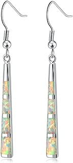 CiNily Drop Dangle Earring-Opal Dangle Earrings Silver Plated Dangle Bar Earrings Women Jewelry Gems Dangle Earrings 2 1/8