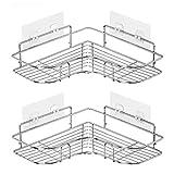 Paquete de 2 cestas de ducha esquineras, acero inoxidable 304, estante de baño montado en la pared con adhesivo, organizador de almacenamiento para inodoro, dormitorio y cocina [plateado]