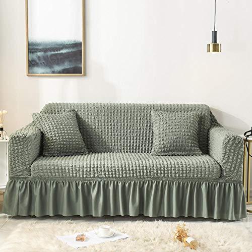 Fsogasilttlv Funda para sofá con diseño Moderno 4 plazas, patrón de Rayas Lisas, Funda de sofá, Falda de Seersucker para Sala de Estar, Funda de sofá elástica, Funda de sofá, 1 Uds