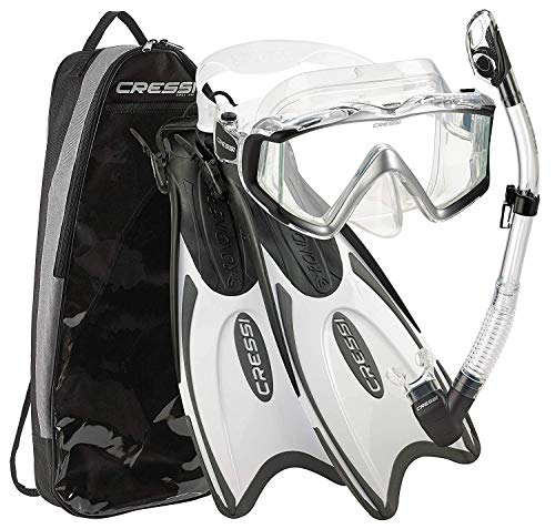 Cressi Italian Design Palau Long Adjustable Snorkeling Fin Flippers with Liberty Panoramic View Mask Dry Snorkel Set (Metallic Black White, S/M | US Man 6.5/8.5 | US Lady 7.5/9.5)