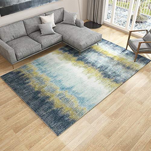 DLSM Einfache abstrakte hellblaue Schwarze Teppich Korridor Bad Schlafsofa Bett Couchtisch Wohnzimmer Schlafzimmer dekorativen Teppich-160 x 230 cm