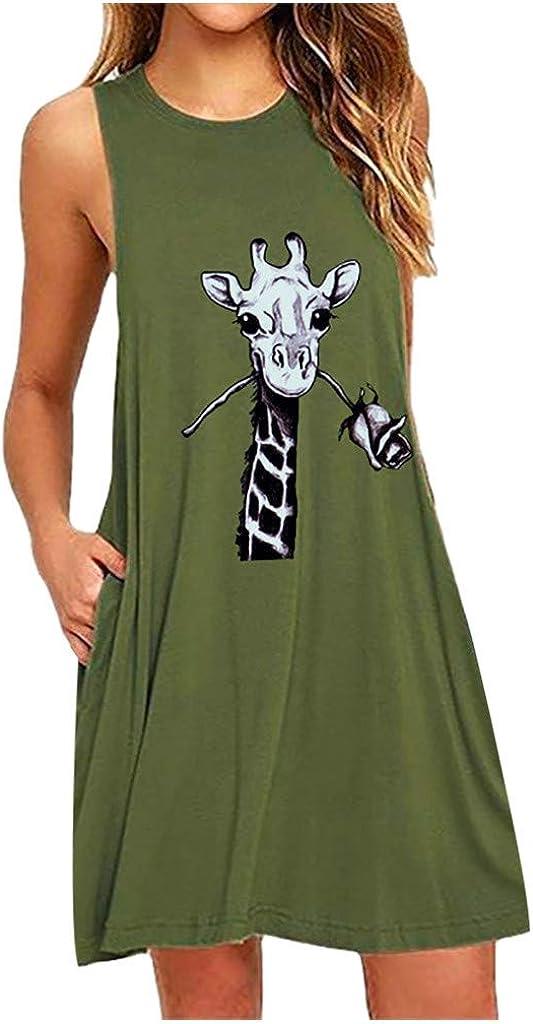 KINGOLDON Slim Dress for Womens O-Neck Sleeveless Casual Giraffe Printing Dresses
