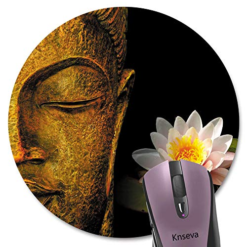 Knseva Gold Buddha and Pink Lotus Round Mouse Pad Cute Circular Mouse Pads