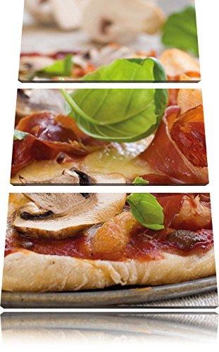 Pizza met ham paddestoelenFoto Canvas 3 deel | Maat: 120x80 cm | Wanddecoraties | Kunstdruk | Volledig gemonteerd
