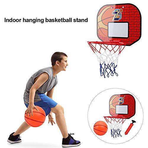 Basketballkorb Indoor Mini Basketballkorb Tür Hängendes Wand mit dicken Haken und Nylon Basketballnetzen Aufhängung Tragbarer mit Basketball und Pumpe für Kinder Erwachsene