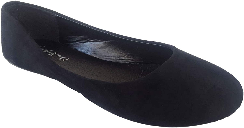J.J. Elegant Women's Faux Suede Black Ballet Flat Slip On shoes