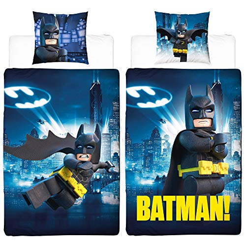 Lego Kinder Bettwäsche Batman Gotham 135 x 200 + 80 x 80 cm 100% Baumwolle Universe Movie Robin Joker DC Super Heroes Doppel-Wendebettwäsche Kinderbettwäsche deutsche Standardgröße mit Reißverschluss