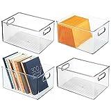 mDesign Juego de 4 cajas organizadoras con asas – Caja de almacenaje para...
