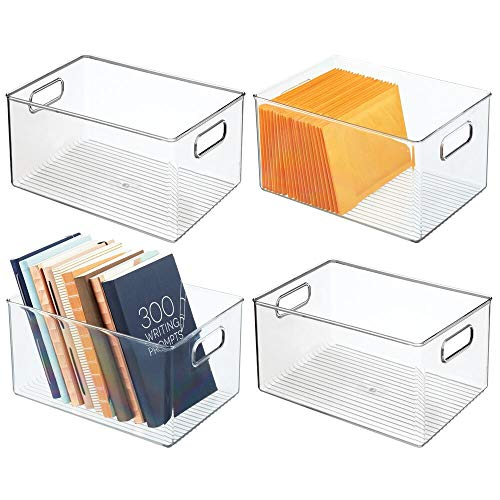mDesign Juego de 4 cajas organizadoras con asas – Caja de almacenaje para accesorios de cocina o baño y para material de oficina – Organizador de escritorio apilable hecho de plástico – transp