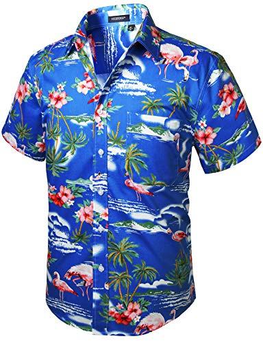 HISDERN Herren Funky Hawaiihemd Flamingo Unisex Kurzarm Vordertasche Urlaub Sommer Aloha Bedruckter Strand Beilaufig Hawaii Hemd S-2XL