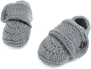 BHP, Primavera Nuevo bebé Recién Nacido Zapatos de Punto Tejido a Ganchillo Hecho a Mano Primeros Caminantes Bebé 0-6M Zapatos de Punto para bebé Calcetines # 31, Gris, Recién Nacido