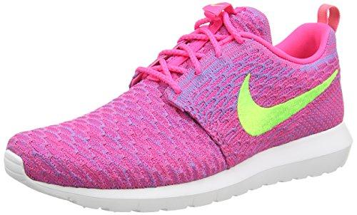 Nike Herren Flyknit Rosherun Low-Top Sneaker, Pink (Pink Flash/Flash Lime/CLB Pink), 42.5 EU