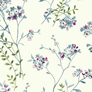 York Wallcoverings Watercolors Soft Blossoms Removable Wallpaper, White/Grey/Blues/Pinkish Purple/Yellow/Green