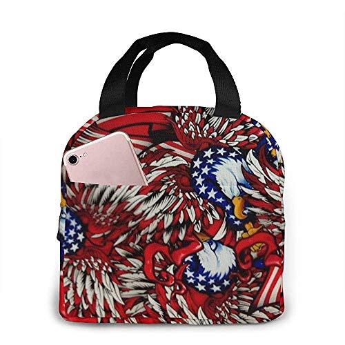 Bolsas de almuerzo American Eagles Camo portátiles aisladas loncheras para mujeres y hombres
