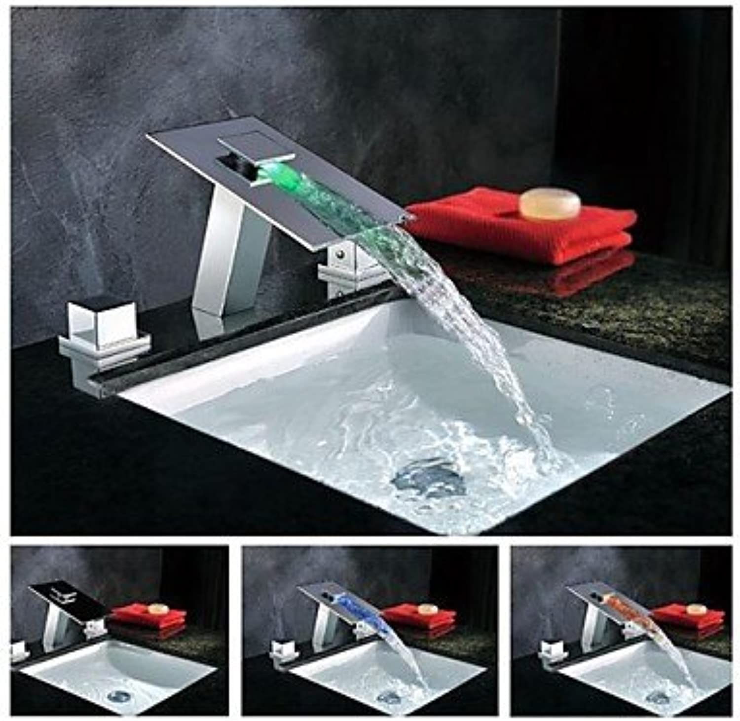 HFaucet? Charmingwater Contemporary 3 color Changing LED Waterfall Chrome Brass Bathroom Sink tap