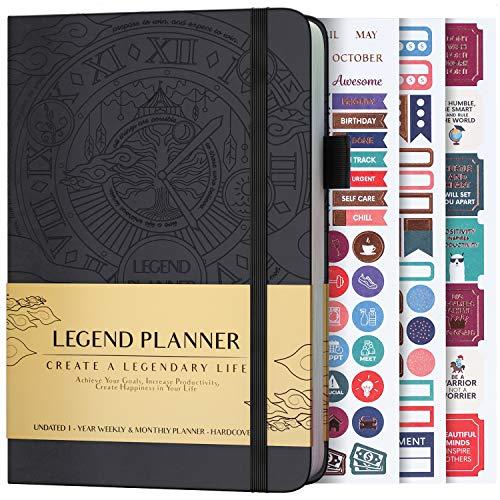 Legend Planner - Beste Wochenplanung und Monatskalender zur Steigerung der Produktivität, Erreichung von Zielen und Zeitmanagement - A5, undatiert - Schwarz