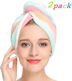 Turbante de cabello de microfibra AuroTrends, paquete de 2, diseño único, 2 - unidades, Arcoiris (Rainbow)